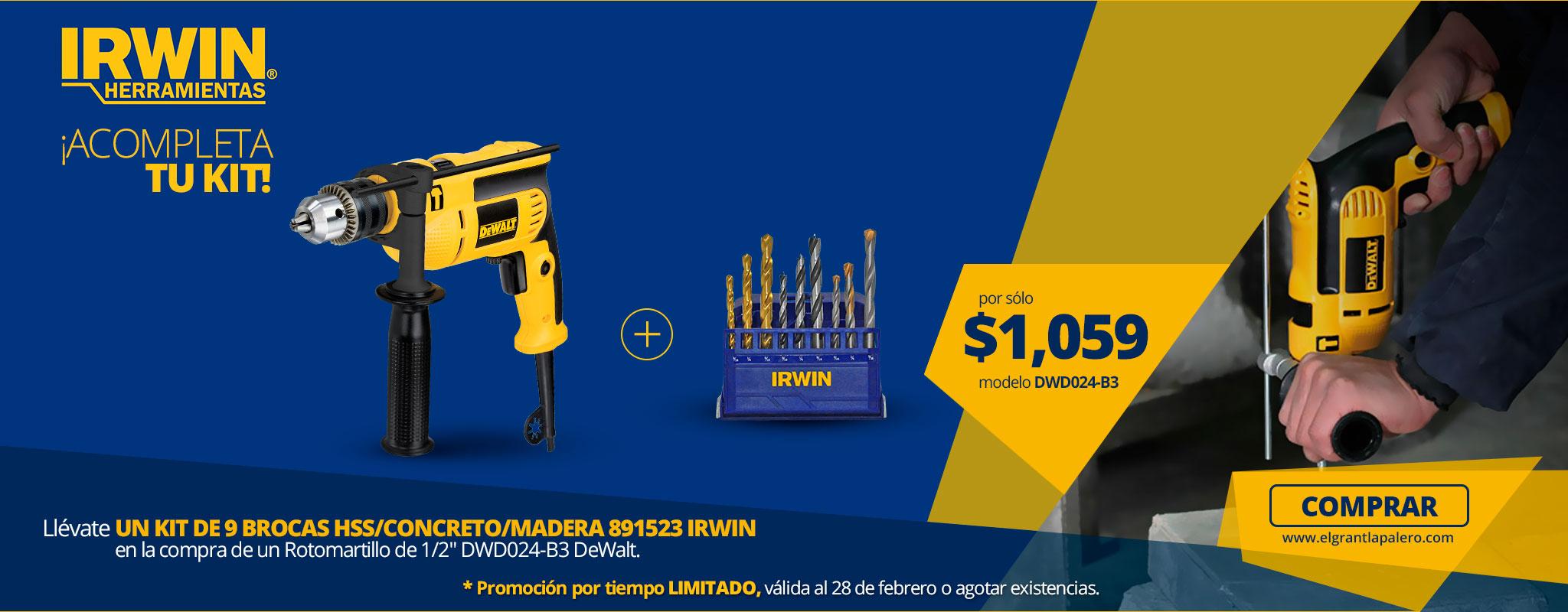 IRWIN te Regala 1 kit de brocas en la compra de DWD024-B3!
