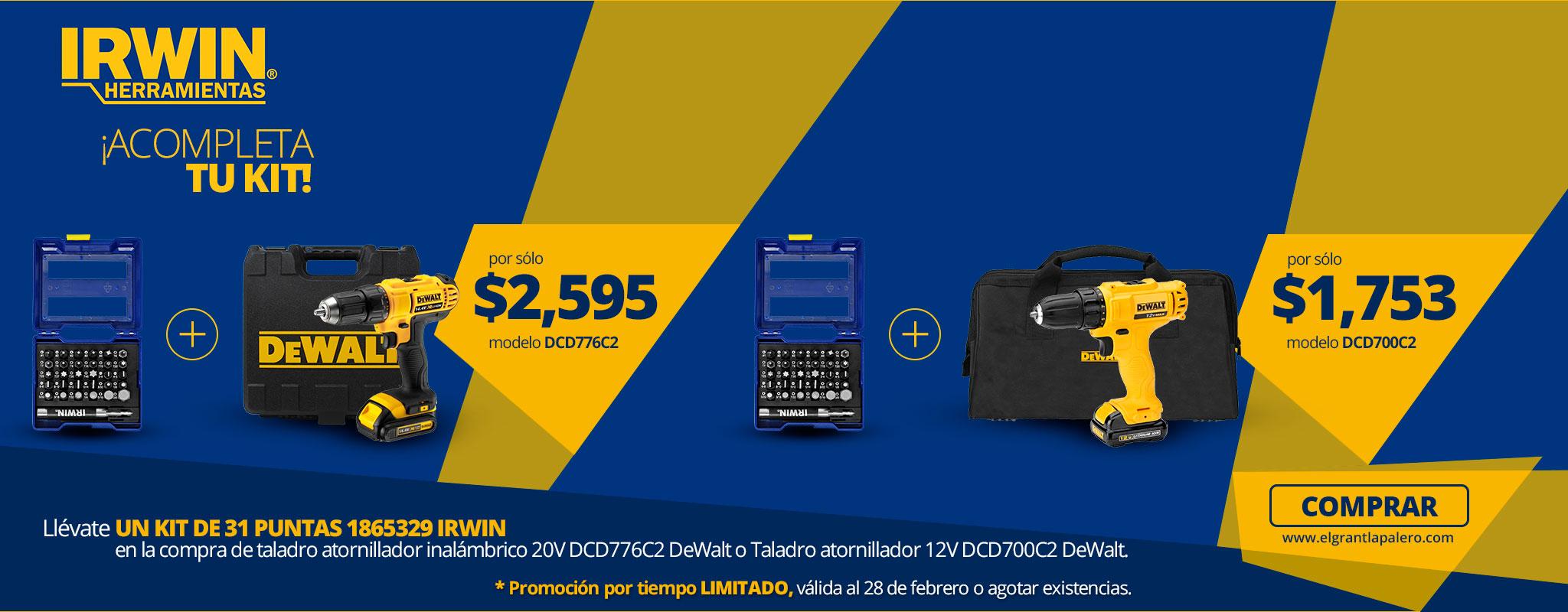 IRWIN te regala 1 kit de puntas en la compra de inalámbricos DeWalt!