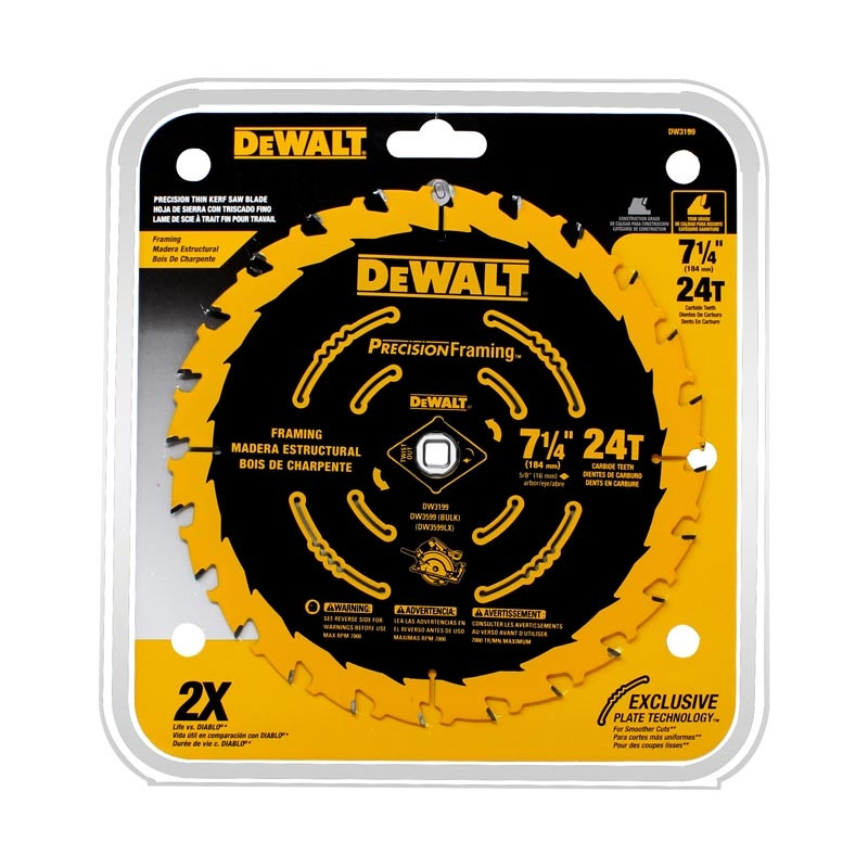 "Disco Sierra 7-1/4"" x 24 dientes Precision Trim DW3199 DeWalt"