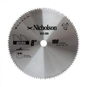 """Sierra circular de diente fino 8"""" Nicholson"""