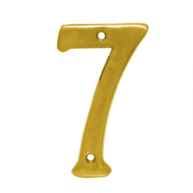 Número decorativo #7 latón brillante Dexter