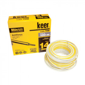 Rollo de cable THW calibre 14 AWG blanco